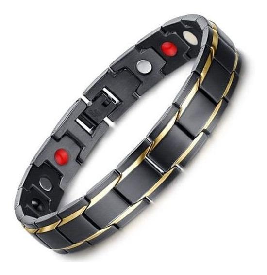 Pulseira Masculina Bracelete Preto Luxuoso Aço Inox Ouro 18k