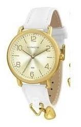 Relógio Lince De Couro Branco Cx Dourada Tam Médio Lrc445l