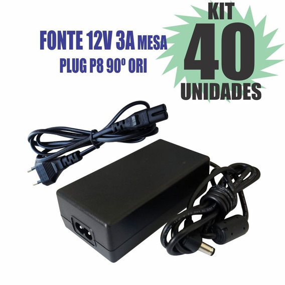 Kit 40 Peças Fonte Chaveada 12v 3a Plug P8 90º