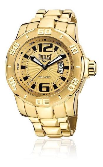 Relógio Pulso Everlast Masculino Calendário Aço Dourado E661