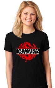 Camisa Feminina Preta Game Of Thrones-dracarys-roupa T-shirt