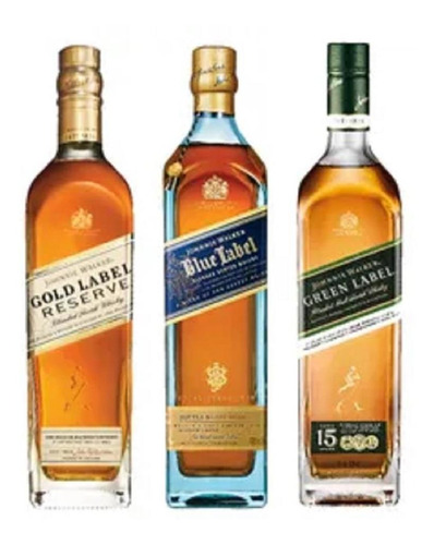 Imagem 1 de 1 de Combo Whisky Johnnie Walker Blue, Green E Gold Label 750ml