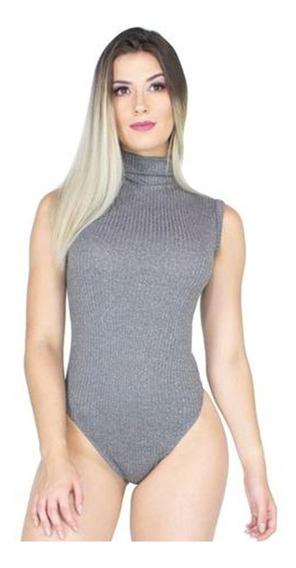 Body Canelado Gola Alta Role Feminino Blusa Collant Moda 280