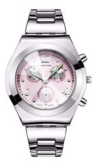 Relógio Feminino Prata Com Rosa