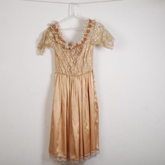 Roupa P/ Estudio Fotog -vestido Dourado C/ Florido Brilhante