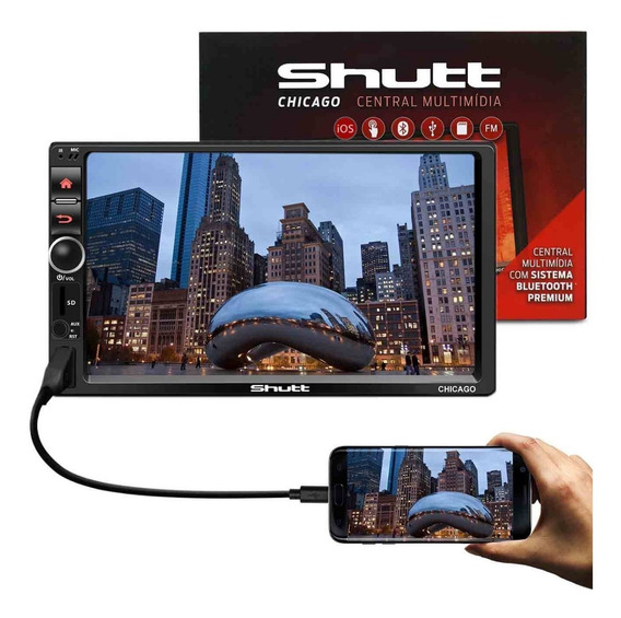 Mp3 Mp5 Player Automotivo Shutt Chicago Bt 7 Polegadas 2 Din