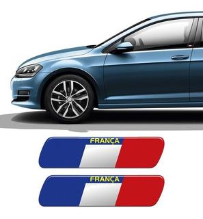 Kit Par De Adesivos Emblema Coluna França Resinado + Brinde
