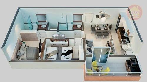 Apartamento À Venda, 56 M² Por R$ 298.200,00 - Boqueirão - Praia Grande/sp - Ap5352