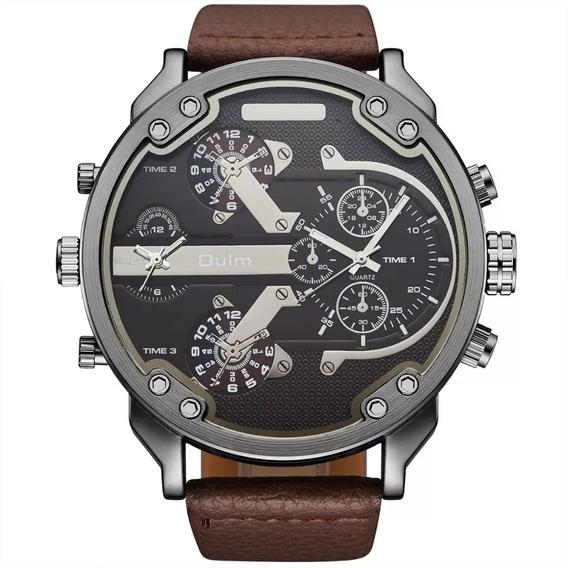 Relógio Masculino Oulm Original Pulseira Couro Marrom 5,6cm Tamanho Ostentação