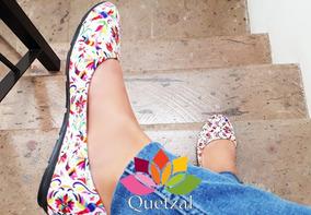 Flats Balerinas Estampado Tenango Mexicanos Zapato