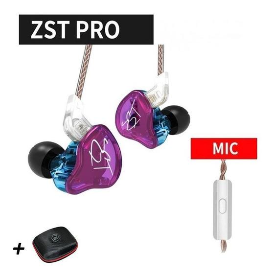 Fone De Ouvido Kz Zst Pro Com Microfone(roxo)(brinde Case)