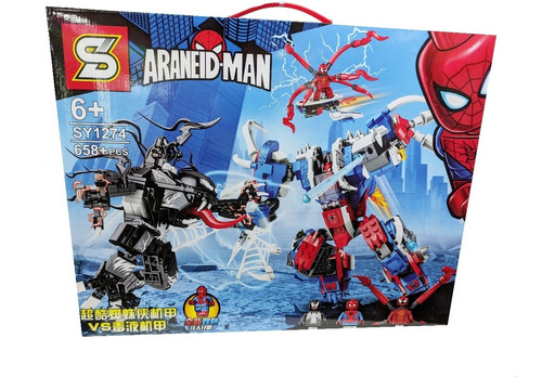 Set Figuras Spiderman Vs Venom Armable 658 Piezas