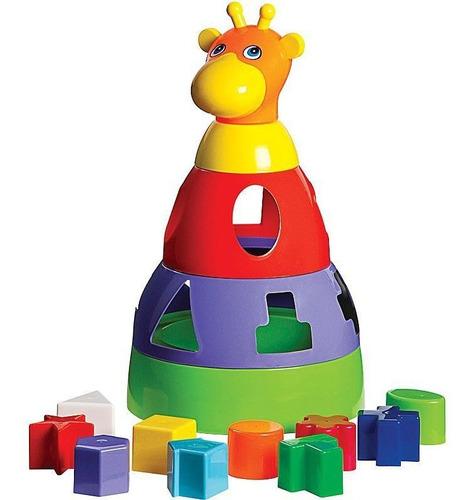 Imagem 1 de 2 de Brinquedo Girafa Didática Com Blocos Geométricos De Encaixar