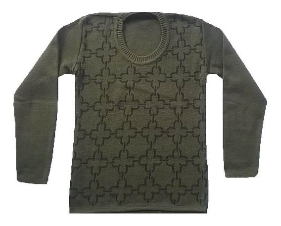 Sweater Mujer Escote Redondo Verde Oliva Y Negro Talle U