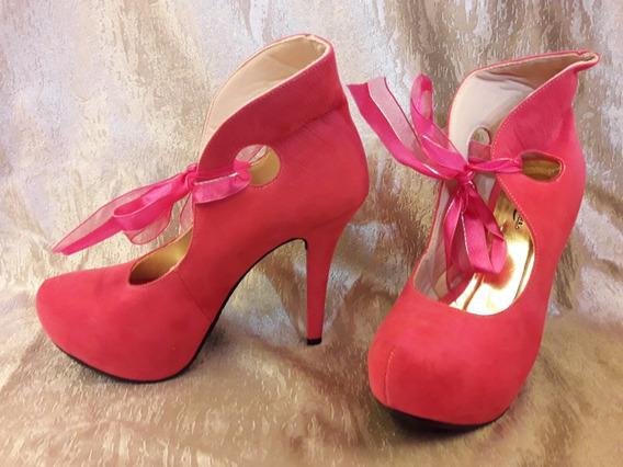Sapato Meia Pata Rosa Laço