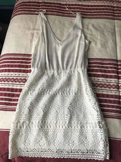 Vestido Zara Corto, Color Hueso, T28, Tejido Parte Baja