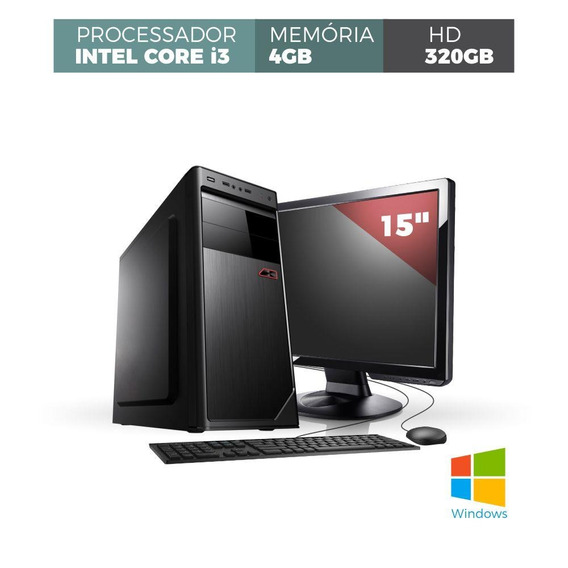 Desk Core I3 4gb 320gb Com Windows Mon Led 15