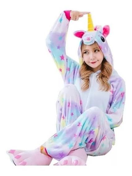 Pijama Mameluco Unicornio Adulto Y Niña Disfraz Estrellas