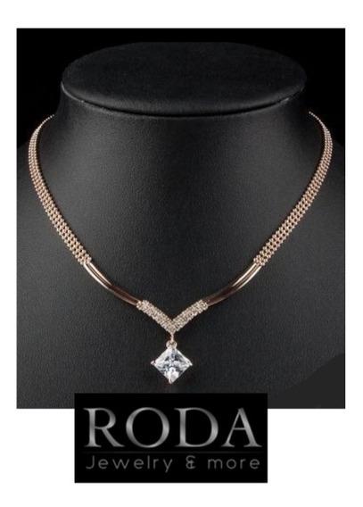 Collar Oro Rosado 18kgp Cristal Cuadro Swarovski Elem Envío