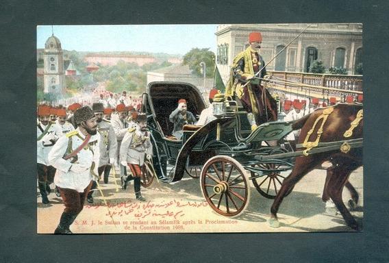 Turquia . Antigua Tarjeta Postal . Constitution 1908 .