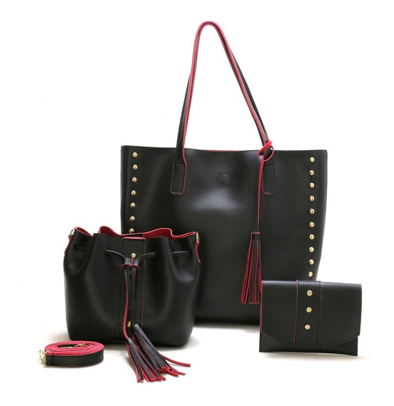 Conjunto 3 Bolsa Feminina Sacola+saco+porta Acessorios Top