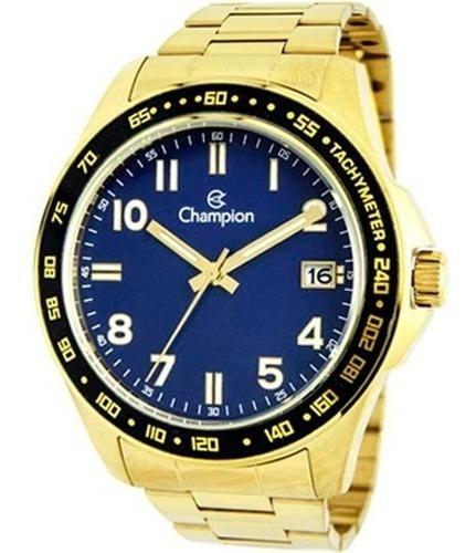 Relógio Champion Masculino Dourado Azul Original Calendário