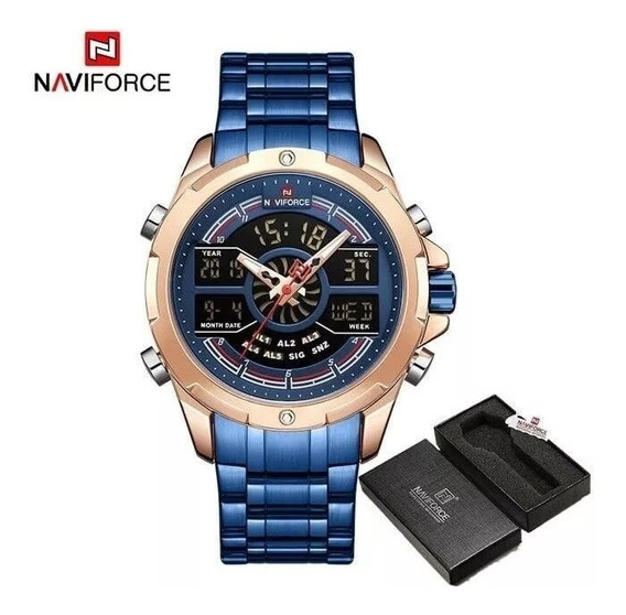 Relógio Naviforce Aço Inox 9170 Original Esport Frete Grátis