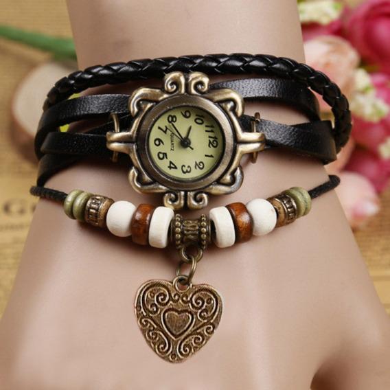 Relógio Feminino Vintage Pulseira De Couro Coracao