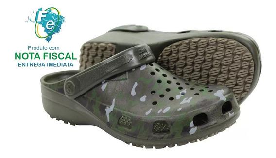 Sapato Softworks Crocks Pescador Antiderrapante - Camuflado