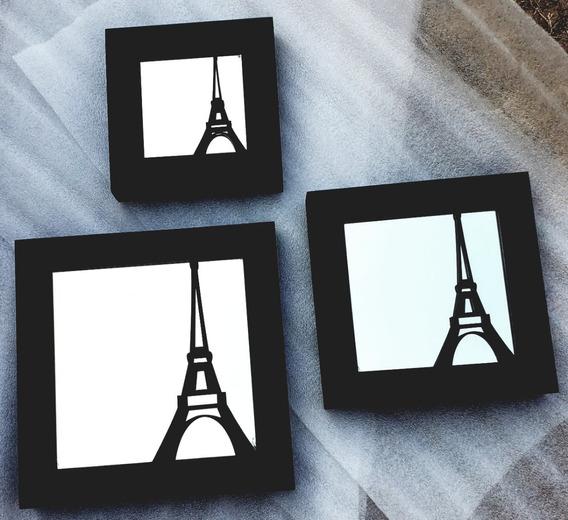 Moderno Juego De 3 Cuadros Con Espejo Torre Eiffel