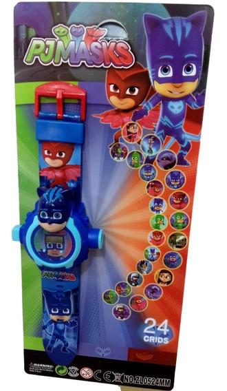 Relógio Digital Infantil Pj Masks Projetor Imagens 24 Grids