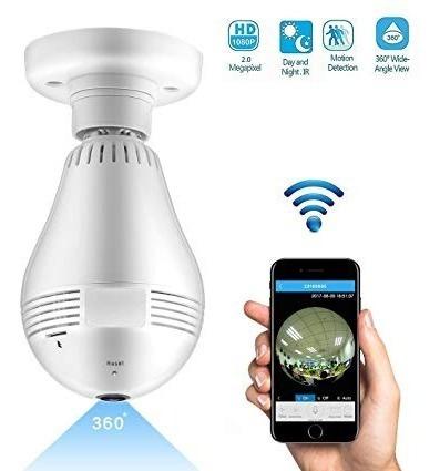 Foco Lámpara Led Cámara Espía 360° Wi-fi + Sonido