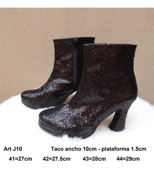 Botineta Glitters Taco - Talle Grande 41 42 43 44 - Art J10