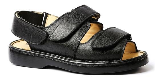 Sandália Masculina 301 Em Couro Floater Preto Doctor Shoes