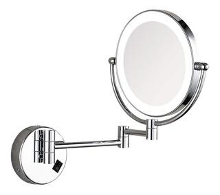 Espejo C/brazo Extensible X3 Aumento C/ Luz Led Baño Hoteles