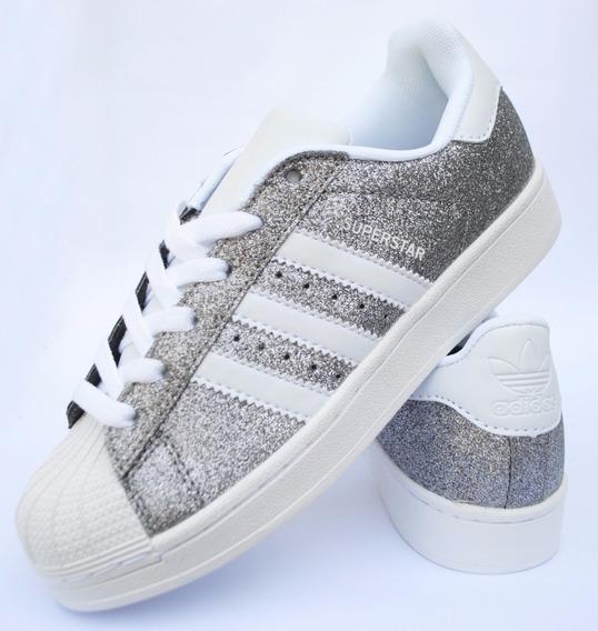 Zapatillas Superstar Glitter Plata Con Blanco
