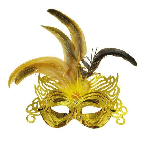 Máscara Ouro Penas Acessório Carnaval Fantasia