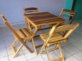 Mesa Cadeira Dobravel 70x70, Com Acabamento Rústico Natural