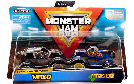 Monster Jam Truck Com 2 Carros - Max D Vs Aftershock 1:64