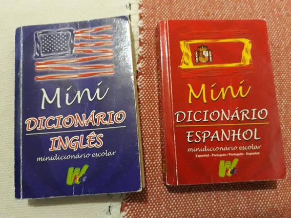Kit 2 Dicionario Mini Inglês E Mini Espanhol - Português