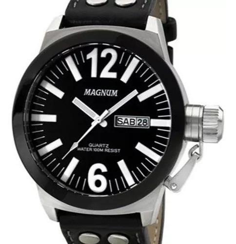 Relógio Magnum Masculino Couro Military Ma31533c Prateado
