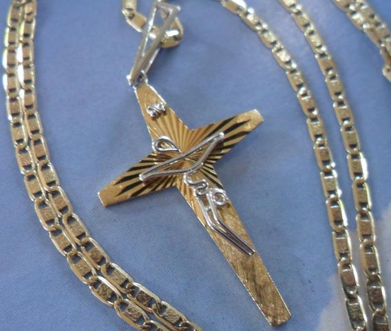 Colar Corrente + Crucifixo Estilizado - Ouro 18k C/ 6,5g !!