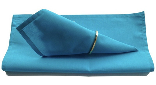 Imagem 1 de 2 de Guardanapo De Tecido Azul Turquesa 32cmx32cm - 4 Unidades