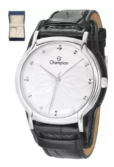 Relógio Feminino Champion Couro Colar Brinco Cn20364c