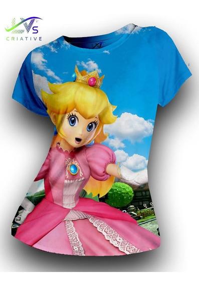 Camiseta Feminina Princesa Peach Mario Bros Estampa Total