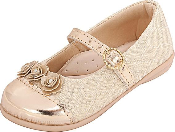 Sapatilha Infantil Menina Lurex Dourada Plis Calçados 124