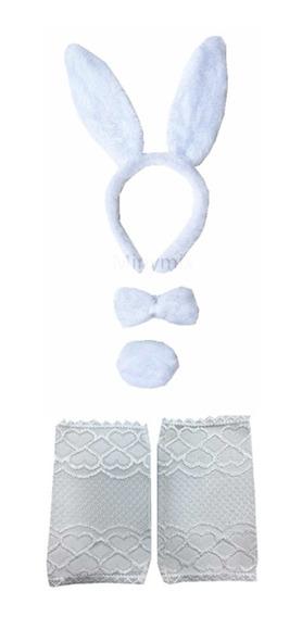 Kit Coelho (tiara+gravata+rabinho) + Luva Renda Curta