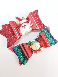 Moño Broche De Vinil Navideño 2 Pzas 12 Cm Navidad