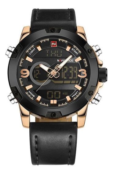 Relógio Masculino Dourado Preto Digital Esportivo Naviforce