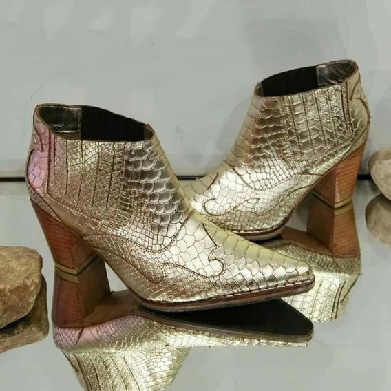Zapato Bota Corta Botineta Texana 100% Cuero Vacuno O/493